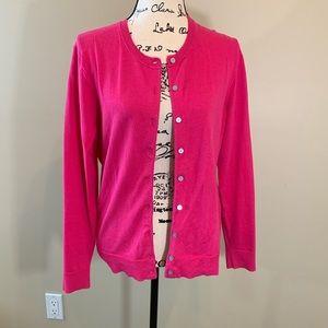 Karen Scott Bright Pink Cardigan, worn once